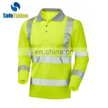 OEM service breathable reflective fluorescent safety long sleeve t-shirt