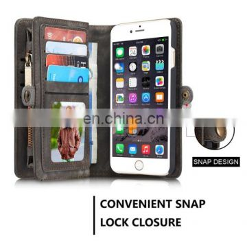 Wholesale Brand New Multi Slots Leather Cover Case for iPhone 6 & 6s with Zipper,Magnetic Clasp