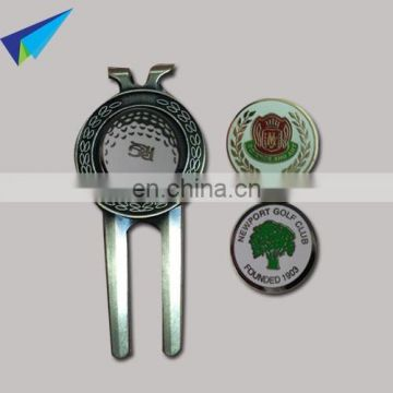 metal golf divot tool and hard enamel ball marker,magnet Hat clips