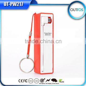 2015 New mobile phone gadgets perfume powerbank 2600 with cable