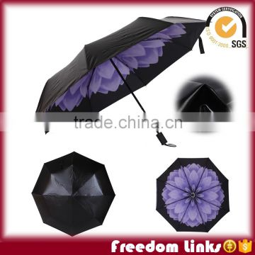 "21"" Flower Printing 3 Folding Fashion Umbrella With UV Proof                                                                                         Most Popular"
