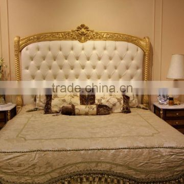 European Concise Gold And White Wood Carved Bedroom Furniture Set, Roman  Style Leather Bed Set ...