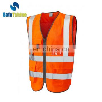 2016 new china supplier orange safety vests with pockets