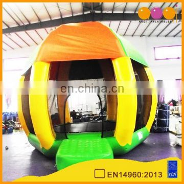Inflatable trampoline with protection net