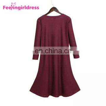 Women Elegant Soft Ladies Long Sleeve Dress Women Free Shipping Ladies Dress