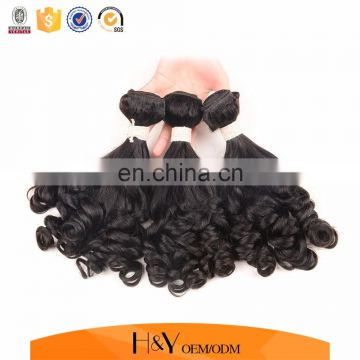 100% human hair weft fumi curly wave unprocessed hair extension can be dyed and bleached