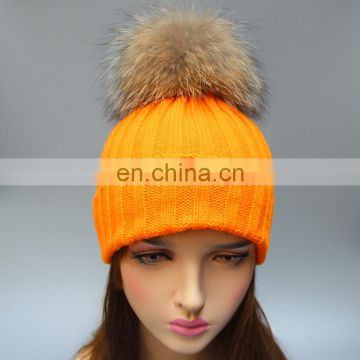 Fur pom pom raccoon animal fur knit hats girl bobble hats wholesale