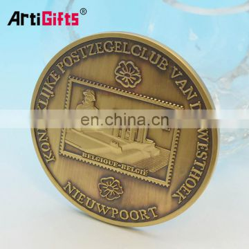 Customize cheap lovely wedding names of gold antiqu brass blank coins