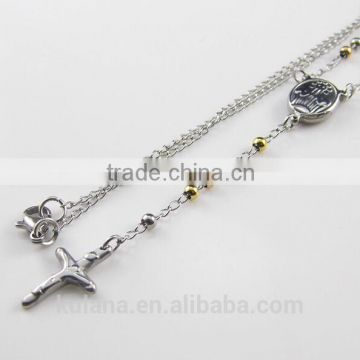 Stainless Steel Bead Jewelry Women's Cross Pendant Fashion Necklace 91825