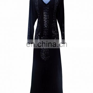 Women's Black Colour Lycra (Stretchable) Velvet Burkha With Black & Silver Stone Work & Stone Work On Dupatta (dubai abaya2017)