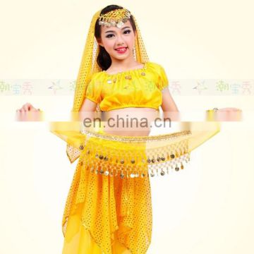 High chiffon gold coins performance belly dance hip scarf for kids Y-2052#