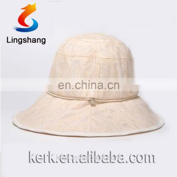 Outdoor Wide Brim Unique Desigh Polyester Woman Hat with Detachable Beautiful Veil