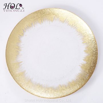 Wedding tableware clear glass charger plates with gold rimed