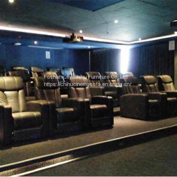 Top grain yellow cow leather home theater seats with power recliner
