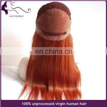 Top quality human hair wig fast shipping #530 red color full lace wig with baby hair