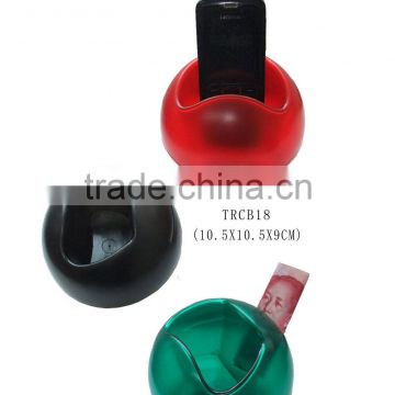 Plastic colorful coin bank with mobile phone holder
