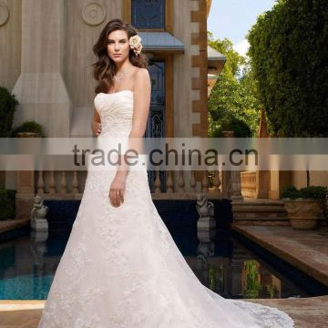custom popular newest hot sell high quality puffy tiered ruffled bridal gown wedding dress