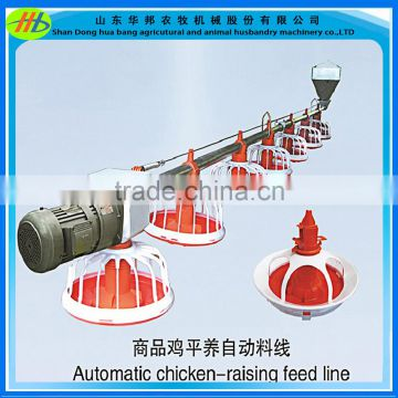 Automatic poultry broiler feed pan nipple drinking system in chicken farm  turkey house