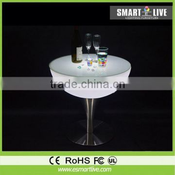 New products remote control illuminated 16 color change pe plasitc led furniture table with aluminum base
