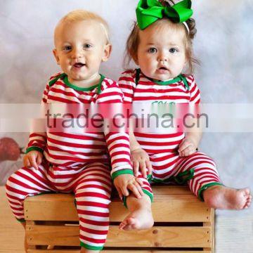wholesale christmas pajamas custom name embroidered santa red and white stripe baby girl or boy personalized - Wholesale Christmas Pajamas