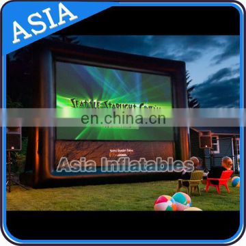 Outdoor inflatable movie screen for event and party amusement equipment