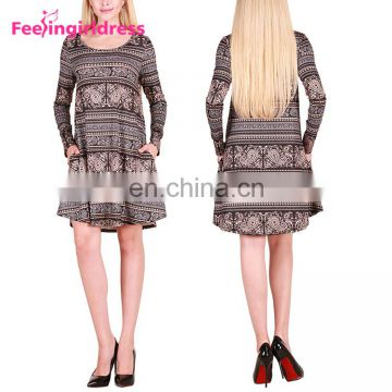 Fashion Christmas Snowflake Reindeer Pattern Long Sleeve Christmas Dresses For Women