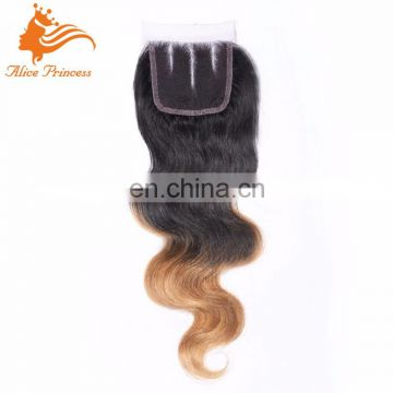 Top Quality Bright Ombre Color Remy Human Hair 3 Part Lace Closure Virgin Hair Pieces