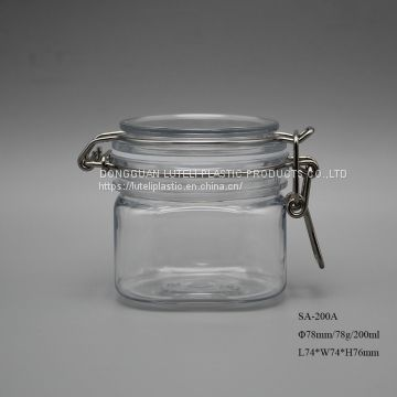 wide mouth 200ml 200g square empty plastic cosmetic packaging jar and bottle with rubber seal for skin care cream