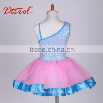 Fancy ballet tutu dance performance kids costumes ballet dress with ribbon and barette D032003