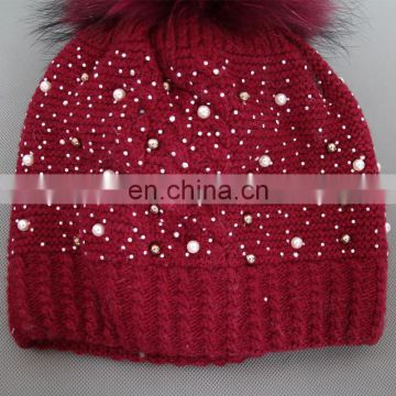 Top quality wool blend girls hat knitted adults bling bling hats