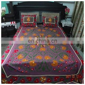 Handmade Uzbekistan Embroidered Floral Cotton suzani bed cover Bedspread Pillow