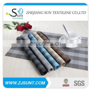Hot sale colorful grid pvc woven mesh placemats