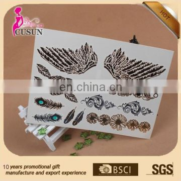 skin safe jewelry top fashion gold and silver foil temporary tattoo sticker