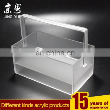 Clear square pmma plexiglass acrylic Cosmetics basket/container/box with handle