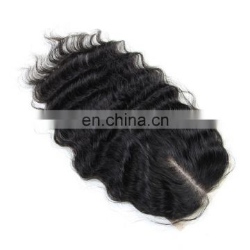 Wholesale price 9A grade Indian human virgin hair lace closure in deep wave free part raw unprocessed hair