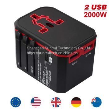 Quick charger Universal Travel Adapter/2000W Electrical Gift Items World Universal Travel Adaptor with Dual USB