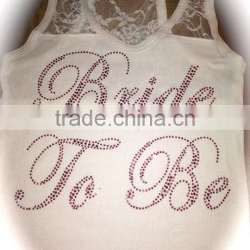 Custom Sleeveless Tee Team Bride Rhinestone Transfer Tank Tops For Crystal Wedding