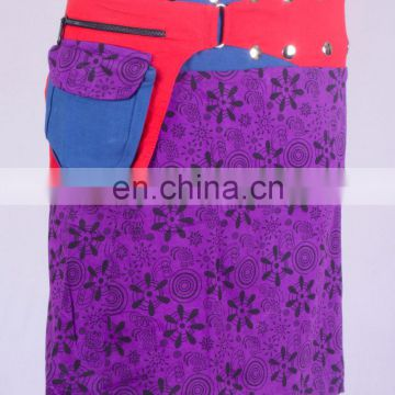 Lovely Exotic Purple Flower Shade Print Gypsy Wrap Around Skirt With Belt & Lace HHCS 111 E