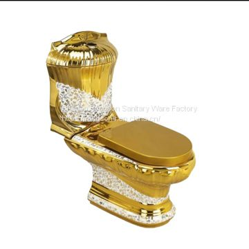 Modern golden sanitary ware bathroom luxury two piece washdonw toilet bowl wc from chaozhou manufacturer