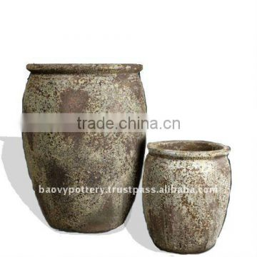 Ancient Glazed Pot, antique outdoor planter