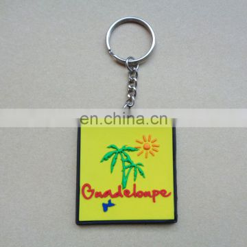 Custom Guadeloupe France travelling souvenir soft pvc square beautiful keychain