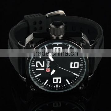 MR015 Brand New Mens man black face rubber band army military sport wrist watch