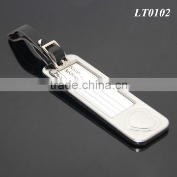 Wedding Gifts Favor Name Address Travel Luggage Label Leather Strap Stainless Steel Heart Rectangle Metal Luggage Tag Wholesale