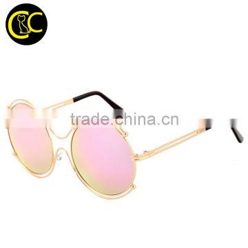d8bd9862eb 2016 Designer sunglasses Classic Metal Big Frame Round Shades Vintage  Ladies Brand Sun glasses CC5011 Quality ...