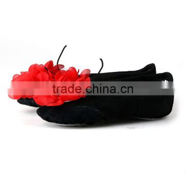 wholesale fashion beautiful dance wear black with big red flower shoes baby girls ballet dance shoes