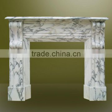 Arabescato Marble Fireplace Mantel Surrounding Simple Design