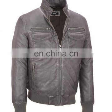 Washed Men's Faux Leather garment dyed Long sleeve Stand collar imitation Leather Jacket wit Metal Zipper