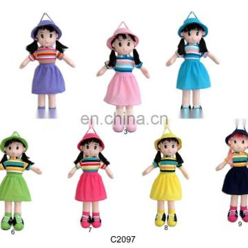 quality plush beautiful girl with hat backpack for children