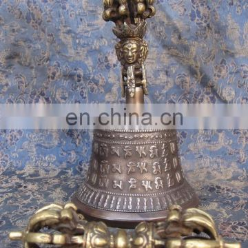 Brass Tibetan Bell- Buddhist Dripu Bell Dorje Vajra Dharma Objects Tibetan Buddhist Meditation Bells and Dorje Indian Antique