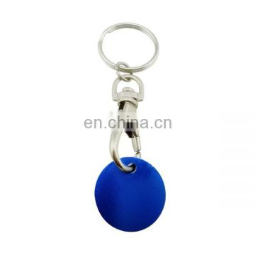 custom coin plated blue embossed unique keyring trolley token